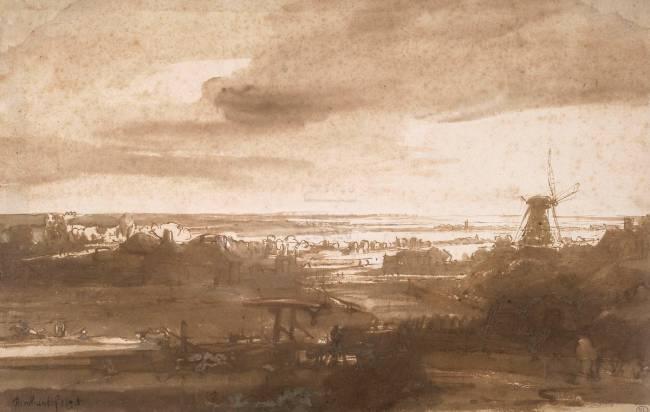 Vue panoramique d\'une plaine avec un moulin à vent by Rembrandt ...