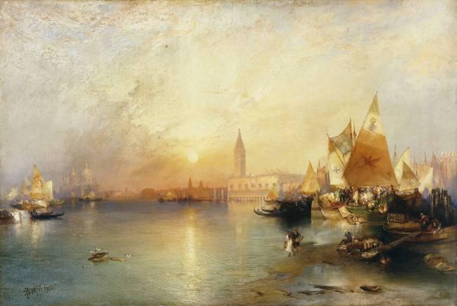 Sunset, Venice : Santa Maria and the Ducal Palace by Moran Thomas ...
