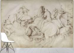 Combat entre cinq cavaliers et des dragons (Bellini Jacopo) - Muzeo.com