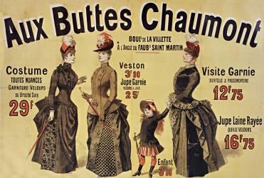 Aux Buttes Chaumont. Costumes toutes nuances garniture velours ou broché soie 29 F... (Chéret Jules) - Muzeo.com