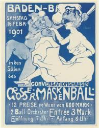 Baden-Ba[den], Samstag 16 Febr. 1901 ... Conversationshauses Grosser Maskenball ... : [affiche] ([Variante de coul. (Puhonny Ivo) - Muzeo.com