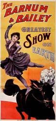 Barnum and Bailey Greatest show on earth (écuyère en équilibre sur un cheval et clown) (anonyme) - Muzeo.com