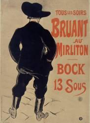 Bruant au Mirliton. Tous les soirs Bruant au Mirliton - Bock 13 sous (Toulouse-Lautrec Henri de) - Muzeo.com