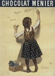 Chocolat Menier : fillette écrivant sur un mur (Bouisset Firmin (1859-1925)....) - Muzeo.com