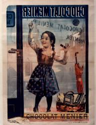 Chocolat Menier [fillette de face écrivant sur une vitrine] (Bouisset Firmin) - Muzeo.com