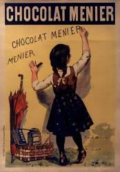 Chocolat Menier [fillette écrivant sur un mur] : [affiche] ([Variante d'image (Bouisset Firmin (1859-1925)....) - Muzeo.com
