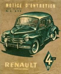 Couverture du livret d'entretien de la 4 cv (4 chevaux ou 4CV) Renault 1954. (anonyme) - Muzeo.com