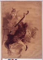 La violoniste, pl. monochrome (Chéret Jules) - Muzeo.com