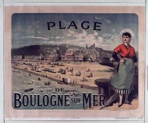 Plage de Boulogne sur mer (Chéret Jules) - Muzeo.com