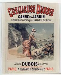Cueilleuse Dubois, breveté S.G.D.G. Canne de jardin cueillant fleurs et fruits jusqu'à 3 mètres de hauteur. Adrien Dubois de Laval inventeur fabricant , Paris, 7 Boulevard de Strasbourg (Chéret Jules (1836-1932)....) - Muzeo.com