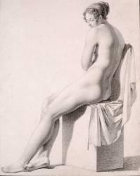 Académie de femme, assise, de trois quarts à gauche (anonyme) - Muzeo.com