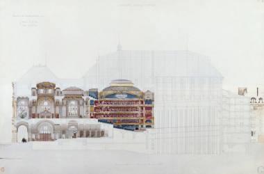 Académie impériale de musique, projet d'opéra, coupe longitudinale (Viollet-Le-Duc Eugène) - Muzeo.com
