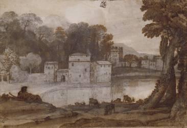 Berger au bord d'un lac près d'un moulin fortifié (Le Lorrain Claude) - Muzeo.com