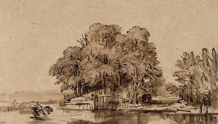 Bouquet d'arbres au bord de l'eau (Rembrandt) - Muzeo.com