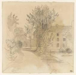Chemin bordé d'arbres menant à une grande maison (Delacroix Eugène) - Muzeo.com