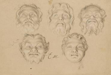 Cinq études de masques (Le Brun Charles) - Muzeo.com