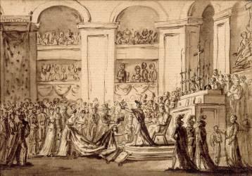 Couronnement de l'impératrice Joséphine à Notre-Dame (2 décembre 1804). (,D'après David Jacques Louis) - Muzeo.com