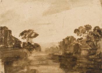 Cours d'eau aux rives boisées ou Impression de crépuscule (Rembrandt Harmensz van Rijn) - Muzeo.com