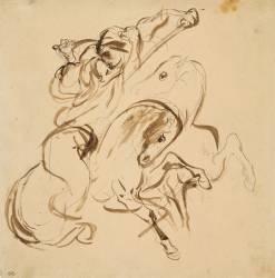 Deux cavaliers orientaux combattant (Delacroix Eugène) - Muzeo.com
