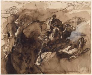 Deux chevaux attaqués par un lion au bord du précipice (Delacroix Eugène) - Muzeo.com