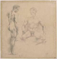 Deux études d'hommes nus (Delacroix Eugène) - Muzeo.com