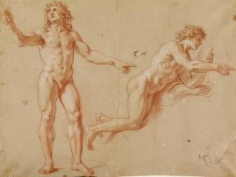 Deux hommes nus : Louis XIV debout et Apollon (Le Brun Charles) - Muzeo.com