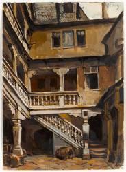Escalier d'une cour à Francfort (Isabey Eugène) - Muzeo.com