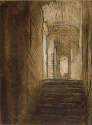 Escalier à l'intérieur d'un monument (Rembrandt Harmensz van Rijn) - Muzeo.com