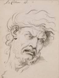 Expression des passions de l'âme : La Colère, tête de trois quarts à droite (Le Brun Charles) - Muzeo.com