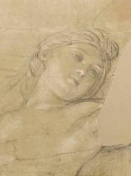 Femme ailée, couchée sur des nuages (Le Brun Charles) - Muzeo.com