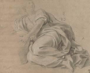 Femme drapée, à demi-couchée (Le Brun Charles) - Muzeo.com