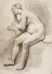 Femme nue, assise, accoudée sur un coussin, riant (Rembrandt Harmensz van Rijn) - Muzeo.com