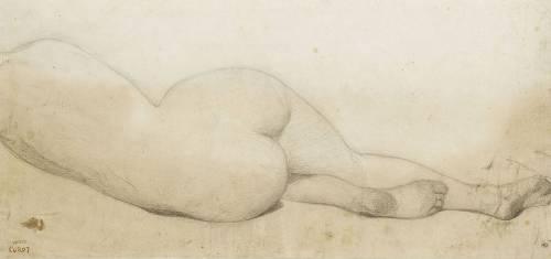 Femme nue, couchée sur le côté gauche, de dos (Corot Jean-Baptiste Camille) - Muzeo.com