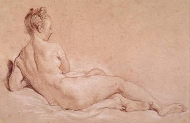 Femme nue couchée vue de dos (Boucher François) - Muzeo.com