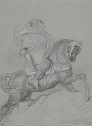 Guerrier arabe à cheval, le sabre à la main, de profil à droite (Chasseriau Théodore) - Muzeo.com
