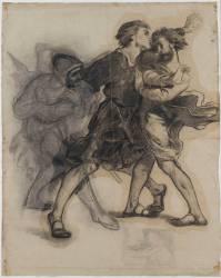 Hamlet apercevant le spectre de son père (Delacroix Eugène) - Muzeo.com