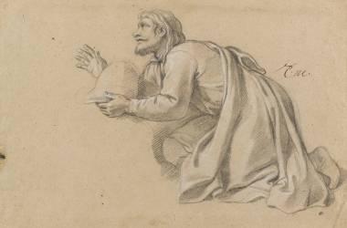 Homme à genoux, drapé, tenant un casque (Le Brun Charles) - Muzeo.com