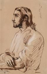 Homme à mi-corps, à longs cheveux, en bras de chemise (Chasseriau Théodore) - Muzeo.com