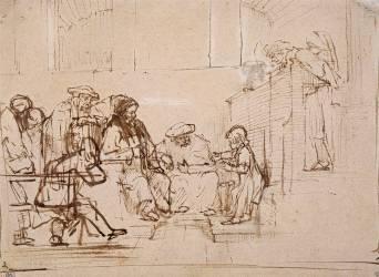 Jésus âgé de douze ans s'entretenant avec les docteurs de la loi divine (Rembrandt Harmensz van Rijn) - Muzeo.com