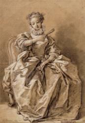 Jeune femme assise, vêtue à