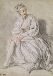 Jeune fille attachant sa jarretière (Boucher François) - Muzeo.com