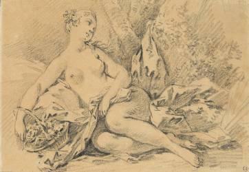 Jeune fille nue assise sur une draperie dans la campagne et tenant au bras droit un panier de fleurs (Boucher François) - Muzeo.com
