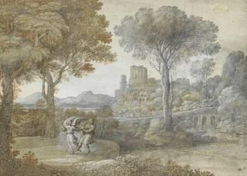 La lutte de Jacob avec l'ange (Le Lorrain Claude) - Muzeo.com