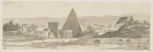 La pyramide de Cestius à Rome; deux vues de villes, sur deux registres superposés (David Jacques Louis) - Muzeo.com