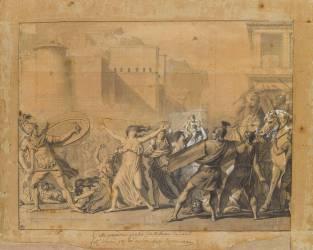 Les Sabines arrêtant le combat entre les Romains et les Sabins (David Jacques Louis) - Muzeo.com