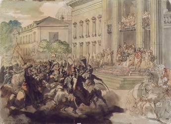 Louis XVIII passant en revue au champs de mars (Géricault Théodore) - Muzeo.com