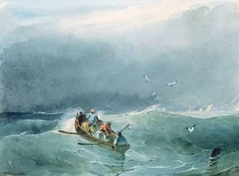 Marine, barque avec cinq marins sur une mer un peu agitée (Bonington Richard Parkes) - Muzeo.com