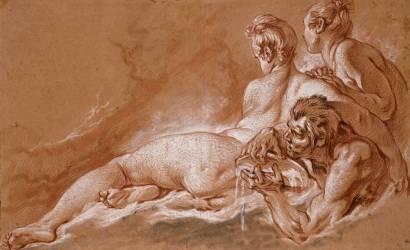 Naiades et Triton : face aux deux naïades, le triton tient une conque (Boucher François) - Muzeo.com