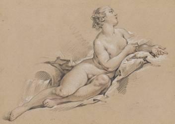 Nymphe, regardant vers la haut, étendue près d'une urne qui se déverse (Boucher François) - Muzeo.com