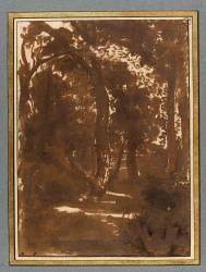 Paysage : chemin dans une forêt (Poussin Nicolas) - Muzeo.com